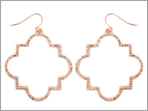 PAVE QUATREFOIL OUTLINE EARRINGS