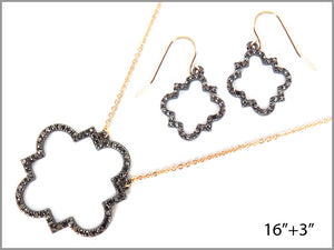Square Quatrefoil Pave Earrings