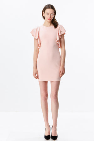 Bodycon Dress with Flutter Pearl Sleeves