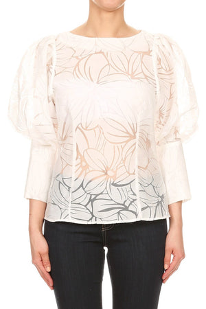 Fitted Sheer Floral Cutout Blouse