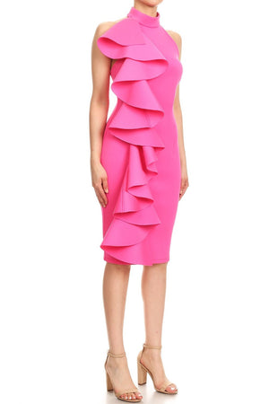 Side Ruffle Scuba Statement Dress