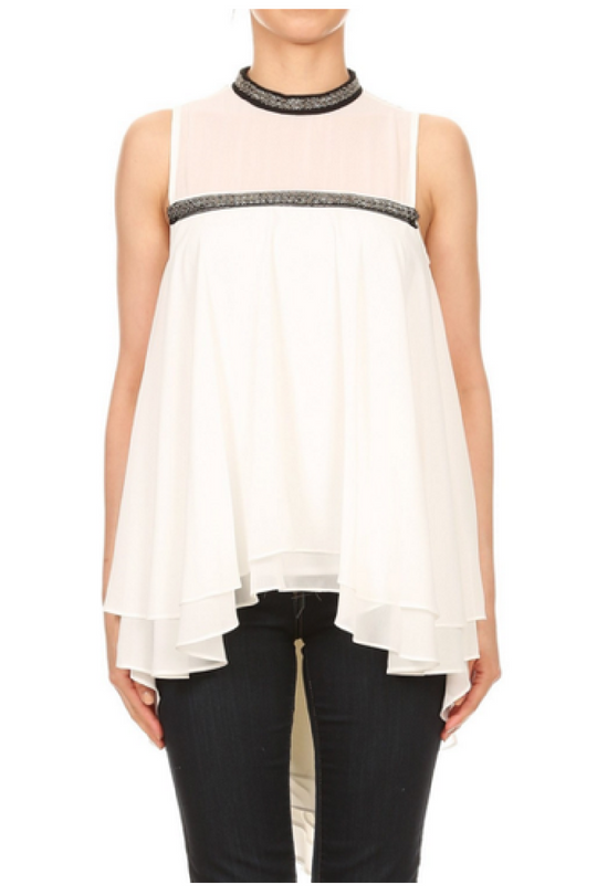 Jewel Neck Sheer Flowy Top