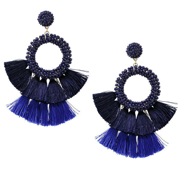 Beaded Wreath & Fringe Stmt Earrings