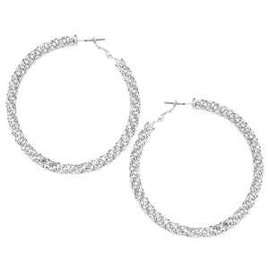 Braided Crystal Cut Hoops