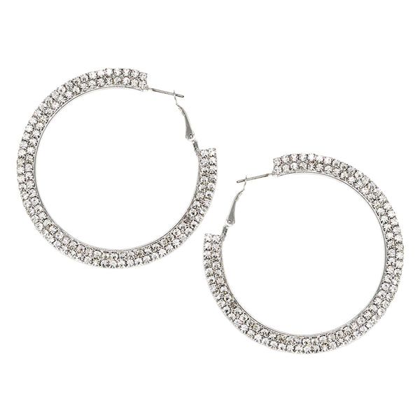 Diamond Crusted Hoop Earrings