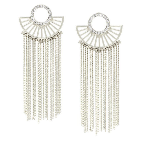 Fan Fringe Stmt Earrings