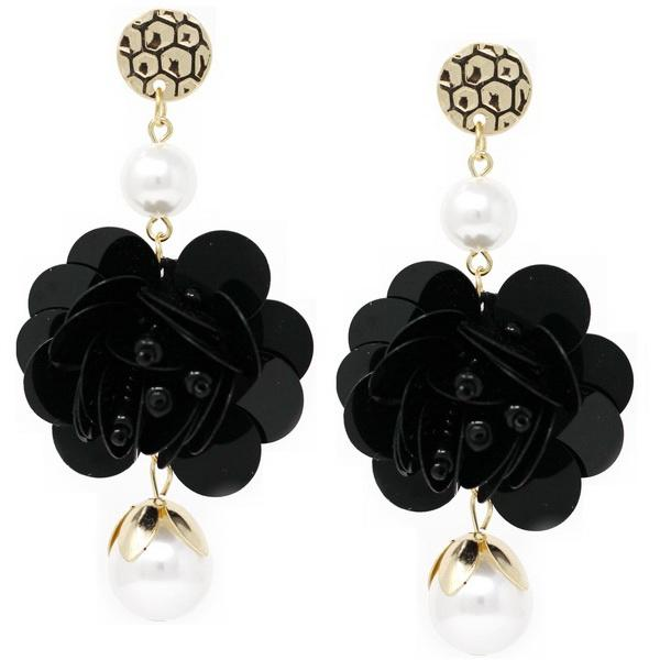 Flower & Pearl Stmt Earrings