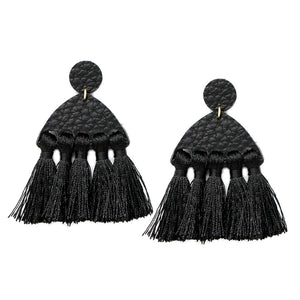 Leather & Fringe Stmt Earrings