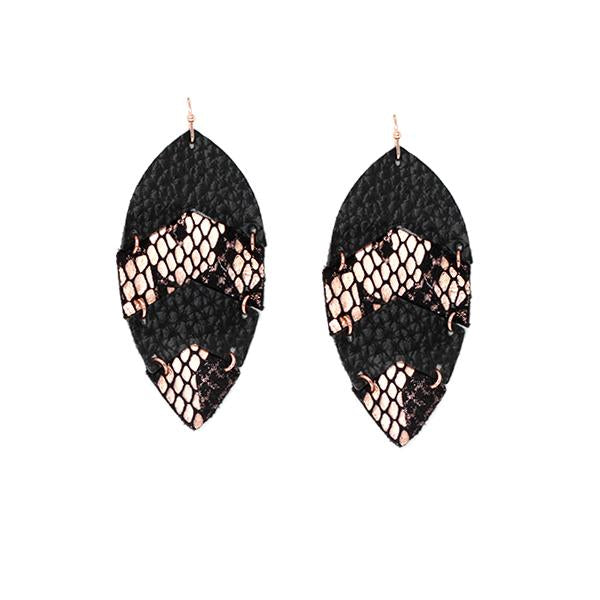 Leather & Snake Tear Drop Earrings