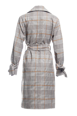 Shelly Plaid Tie Front Trench Coat