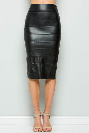 Layered Faux Leather Pencil Skirt