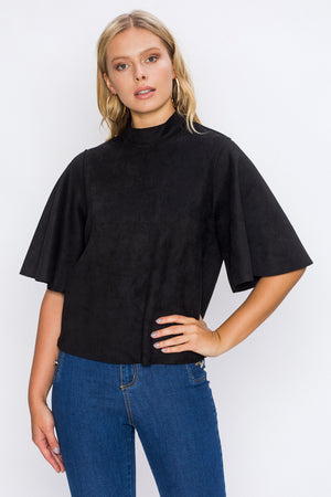 FAUX SUEDE MOCK NECK TOP
