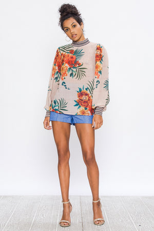 High Neck Tropical Houndstooth Print Top