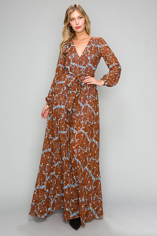 Paisley Print Wrap Maxi Dress