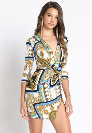 Chain Print Faux Wrap Dress