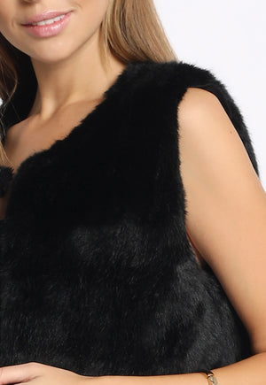 Faux Fur Vest with Pockets