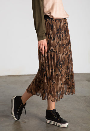 Pleated Tulle Camo Skirt