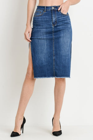 Fringe Hem Soft Denim Pencil Skirt