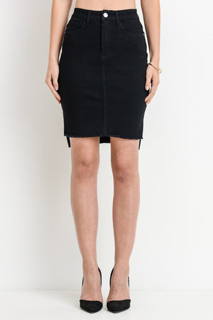 High-Low Denim Mini Skirt