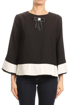 Colorblock Blouse with Bow Detail