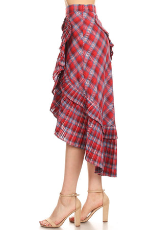 Hi-Lo Faux Wrap Plaid Skirt