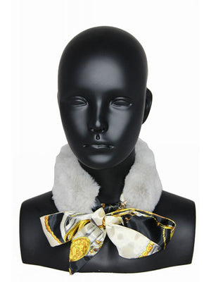 Faux Fur & Silk Print Neck Scarf