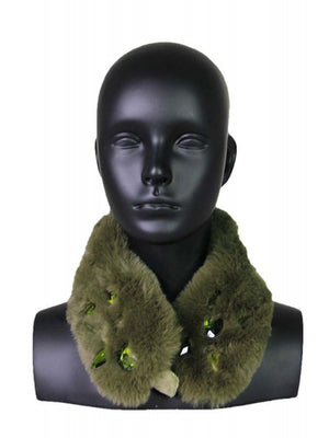 Jeweled Faux Fur Collar