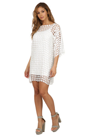 Faux Pearl Lace Tunic Dress