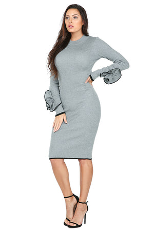 Flower Cuff Bodycon Sweater Dress