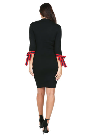 Ribbon Cuff Sweater Dress