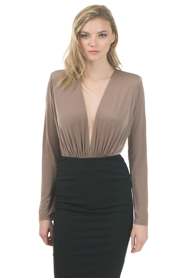 Power Shoulder Deep V Bodysuit