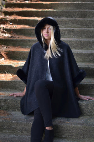FUR LINED CAPE VEST WITH HOOD