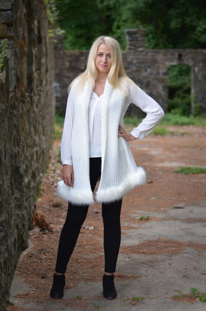 Metallic Brushed Fur Sweater Vest