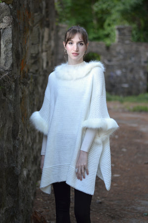 Luxe Fur Lined Poncho Scarf