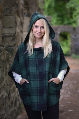 Plaid Hooded Poncho Scarf With Pockets