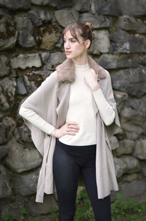BELTED FUR COLLAR WRAP