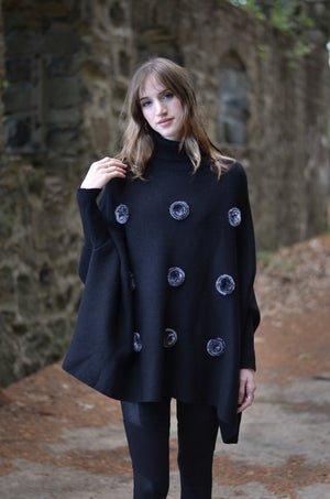 Fur Rose Sweater Poncho
