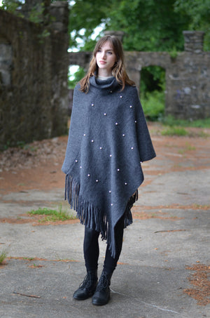 Pearl Studded Turtleneck Poncho