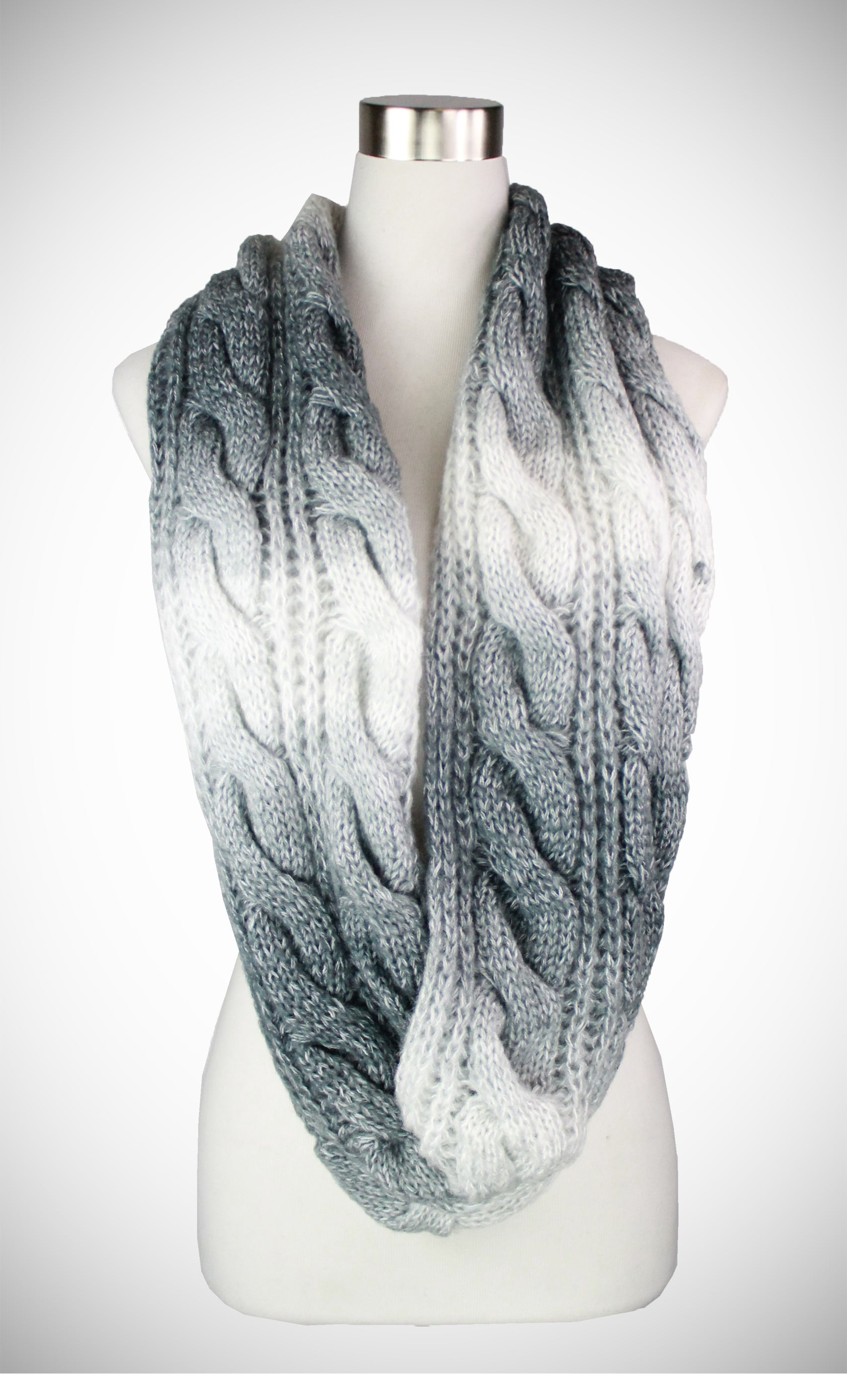 GRADIANT CABLE KNIT INFINITY SCARF - Tias Place