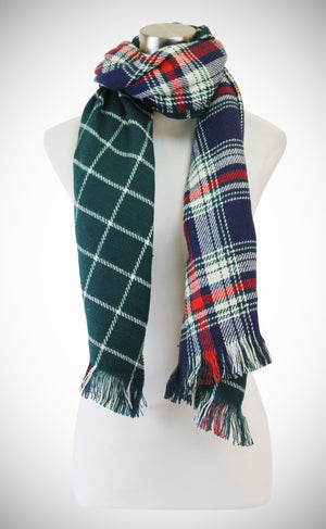 REVERSIBLE LARGE PLAID CHECK PATTERN SCARF