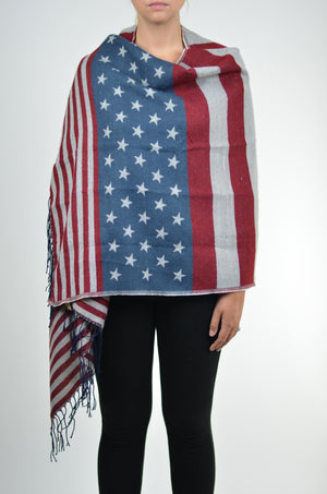 Star & Stripes Fringe Blanket Scarf
