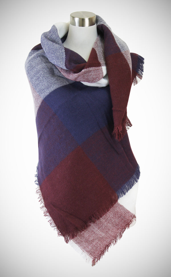 Color Block Pattern Blanket Scarf