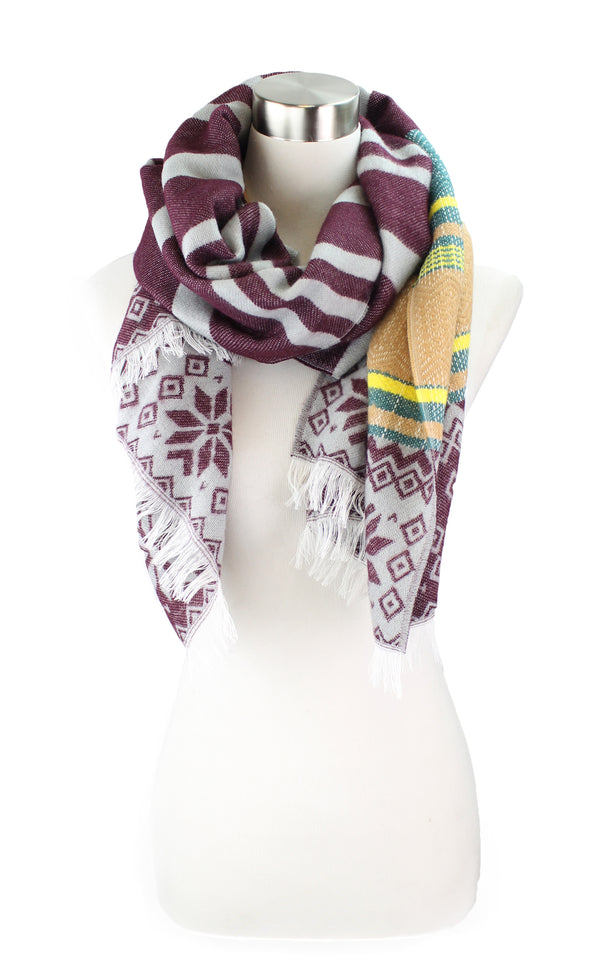 Striped Snowflake Fringe Scarf