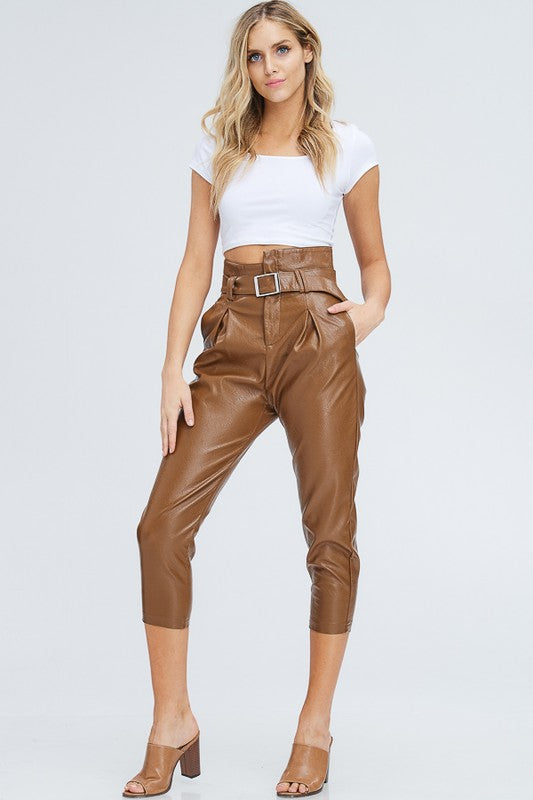 Faux Leather Highwaist Belted Trouser