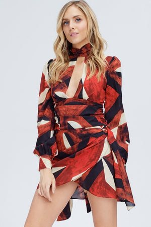 Keyhole Abstract Print Dress