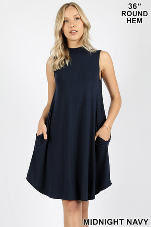 Sleeveless Mockneck Swing Dress