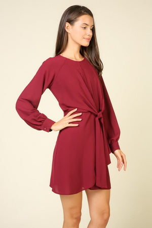 Long-sleeve Twist Front Dress