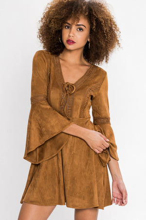 Faux Suede Peasant Dress