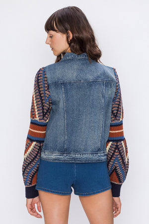 RETRO KNIT SLEEVE DENIM JACKET