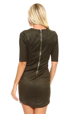 Faux Suede Pinpoint Bodycon Dress